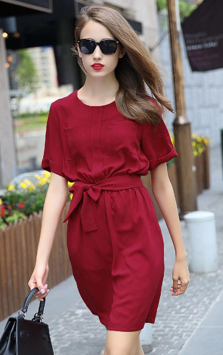 red short sleeve tie-waist casual dress VISAKQQ