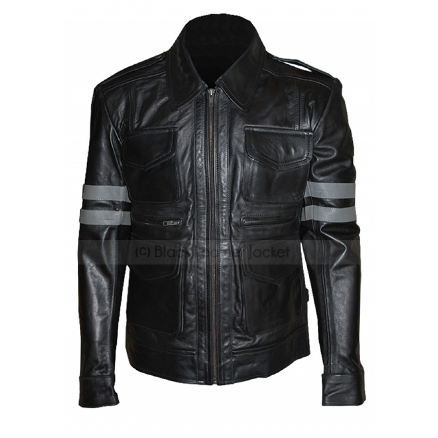 resident evil 6 leon kennedy black leather jacket ZDYKEOC