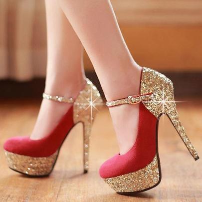 rhinestone decorated stiletto heels closed-toe womenu0027s prom shoes ... LDPPYSX