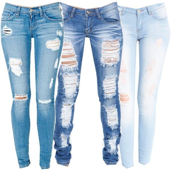 ripped skinny jeans light skinnies ^.^, created by sadexlove on polyvore · light blue ripped  jeansdiy ripped PGRODPN