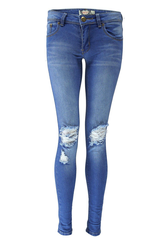 ripped skinny jeans loren distressed rip knee skinny jeans | boohoo XALEIKG