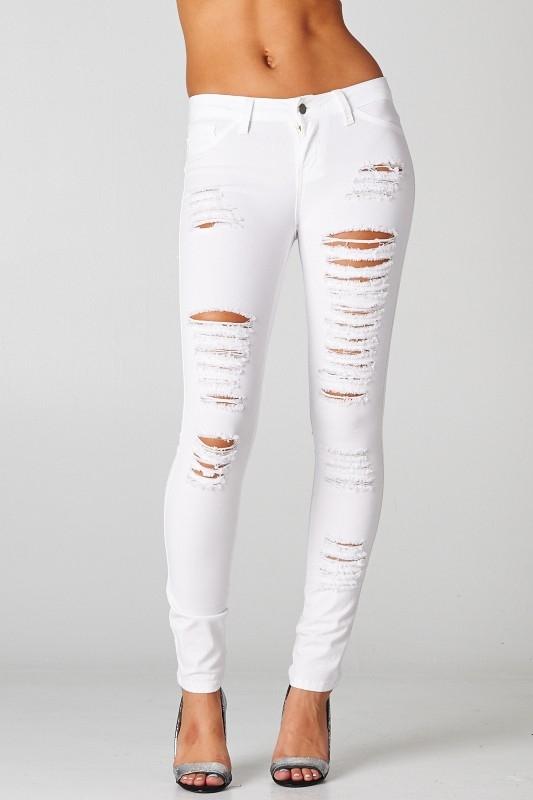 ripped white jeans YEXHEZN