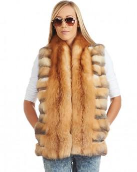 ronda tiered swift fox fur vest with red fox trim ... ERFBQBH