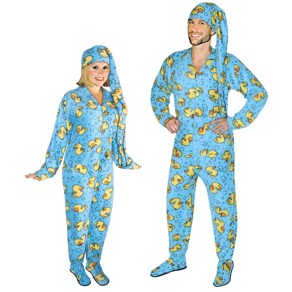 rubber ducks footed pajamas for adults with drop seat and long night cap ICVLJQG