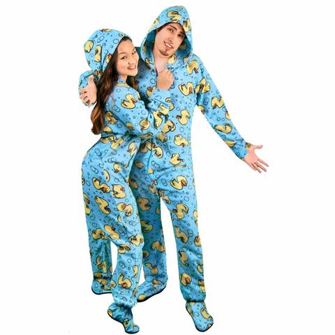 rubber ducks hooded footed pajamas with drop seat *limited sizes* WSGZYIK
