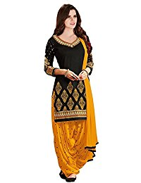 salwar suits texstile womenu0027s faux cotton salwar suit (fd_tsp-4_black_blackfree size) VDEQZSV