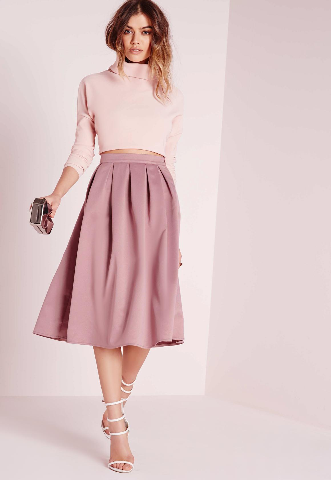 satin pleat waistband full midi skirt mauve BZKFXJJ