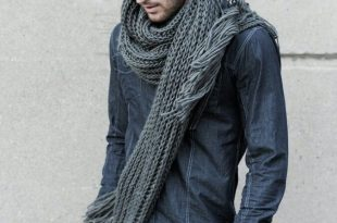 scarves for men mens fashion: chunky gray knit scarf, denim shirt and black jeans. ZYPEFRU