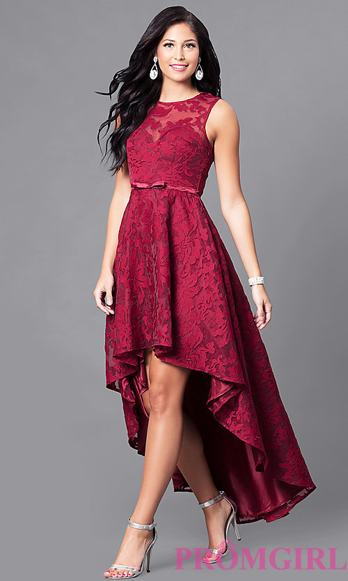 semi formal dresses image of high-low lace sleeveless semi-formal dress. style: lp- URERHGE