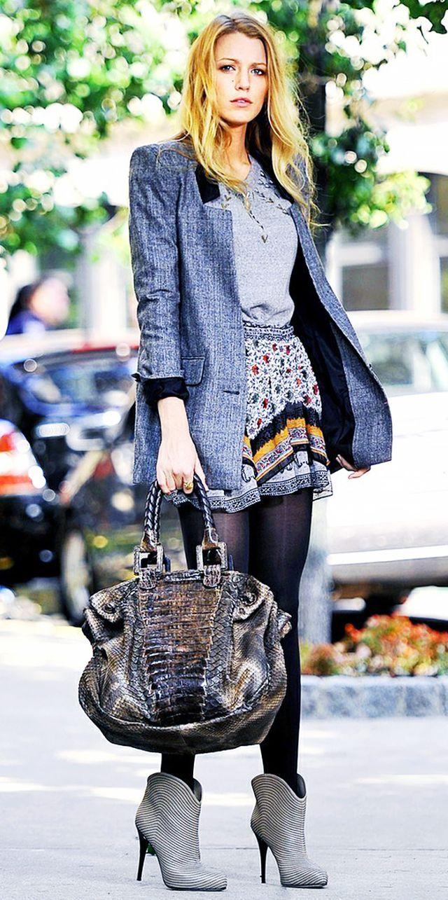 serena van der woodsen style blazer + miniskirt then: MSGNIDV