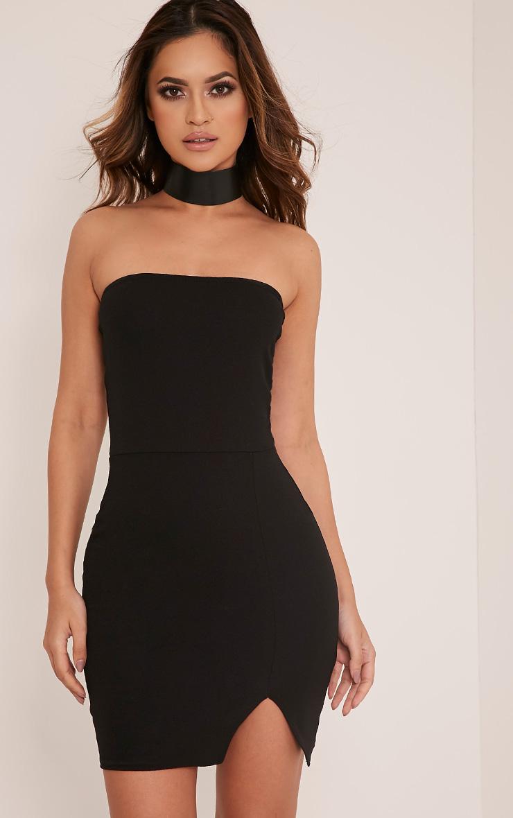 sexy black dresses layala black split detail bandeau bodycon dress GAADLMB