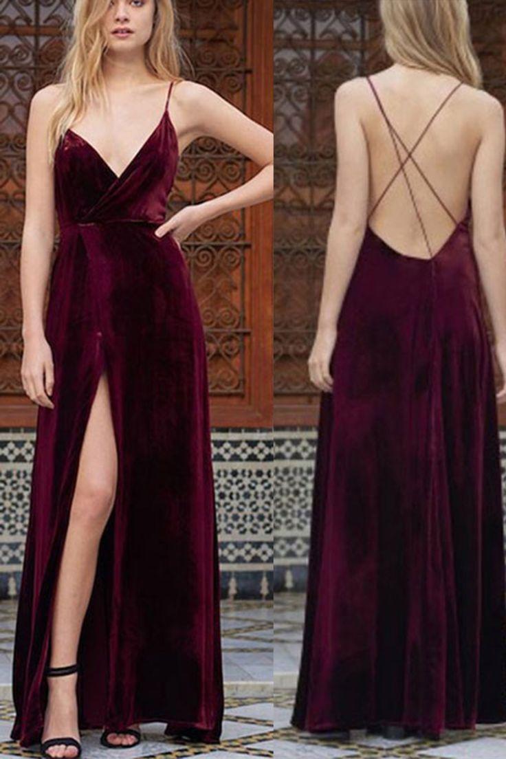 sexy long dresses wine velvet v-neck slit long evening dresses with spaghetti straps ,sexy  long dresses from LMVXTSL