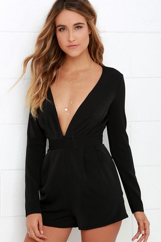 sexy long sleeve romper - black romper - v neck romper - $58.00 CJCWVWR