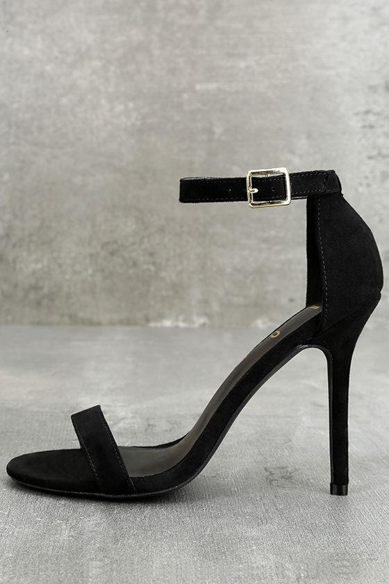 sexy single strap heels - ankle strap heels - black heels - $22.00 LNRSHXL