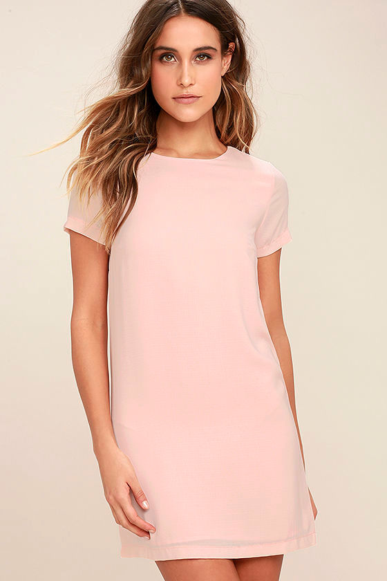 Shift Dress chic blush pink dress - shift dress - short sleeve dress - $48.00 LRQCGNI