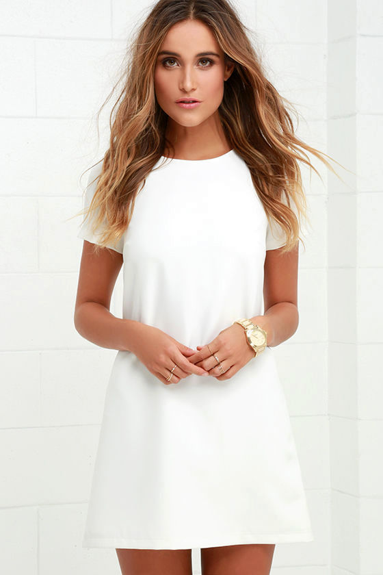 Shift Dress chic ivory dress - shift dress - short sleeve dress - $48.00 DMIMGAH