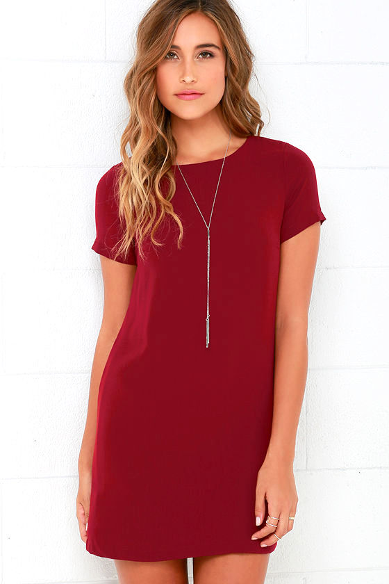 Shift Dress chic wine red dress - shift dress - short sleeve dress - $48.00 XKBKIQO