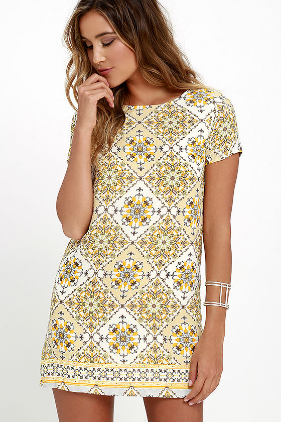 Shift Dress cute print dress - shift dress - yellow dress - $48.00 GIVNCOQ