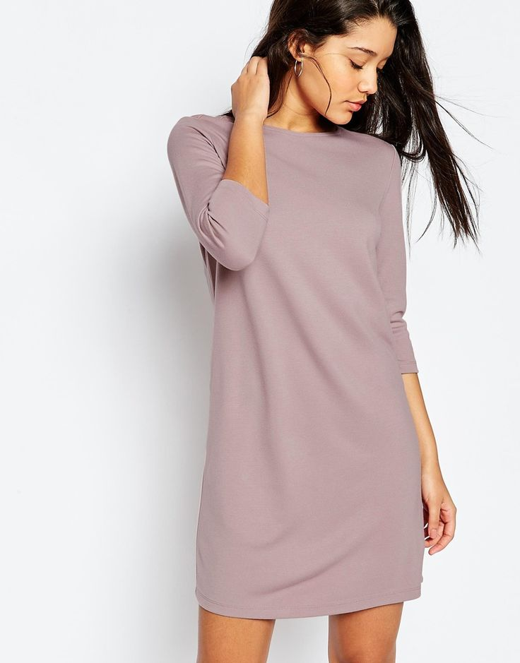 Shift Dress image 1 of asos shift dress in ponte with 3/4 sleeves YHJQRRB
