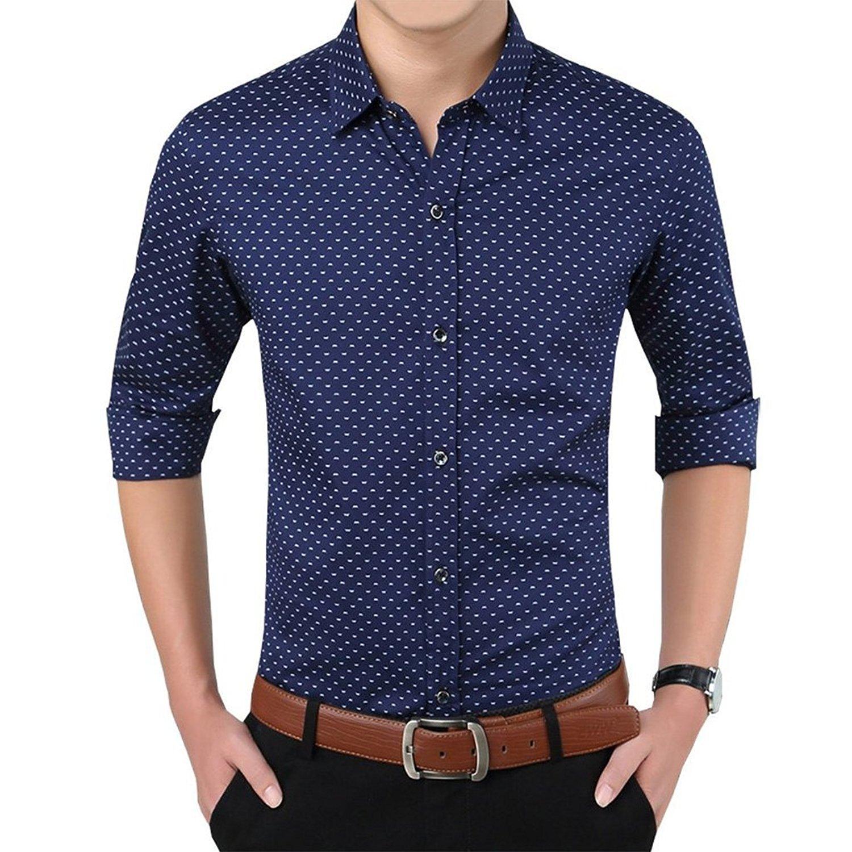 shirts for men romano menu0027s full sleeve casual blue shirt TGVFWHZ