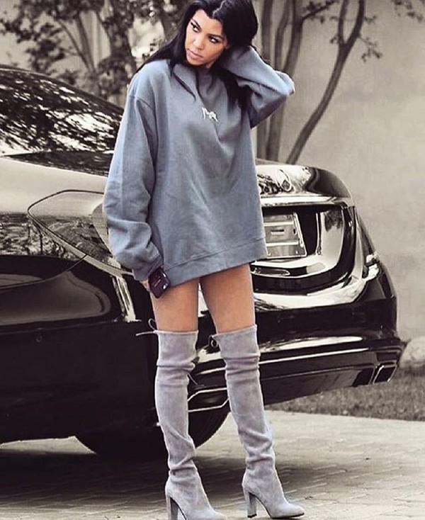 shoes: sweater dress, kourtney kardashian, over the knee boots, yeezy,  suede boots, grey boots, PGEAUTK