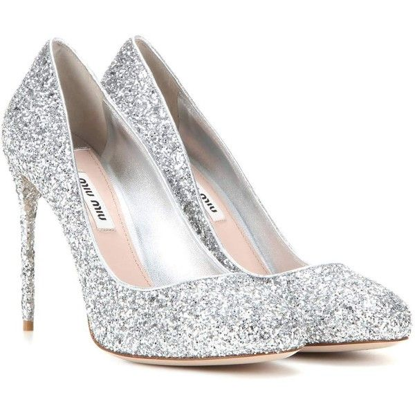 silver heels miu miu glitter pumps (17.315.515 vnd) ❤ liked on polyvore featuring shoes LNQGJLW
