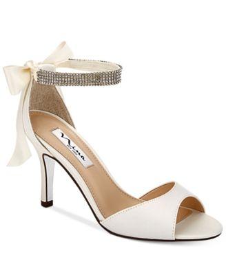 silver heels nina vinnie two-piece evening sandals CBHJCMW