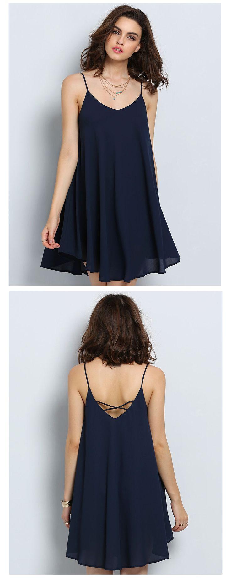 simple dresses criss cross back asymmetrical cami dress JMCVOEY