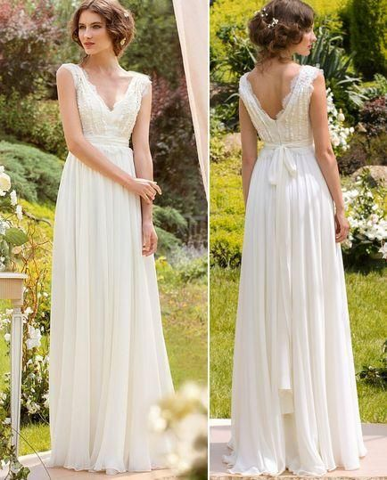 simple wedding dresses cheap elegant v neck boho wedding dress cheap beach v backless chiffon bows  lace TJENRLN