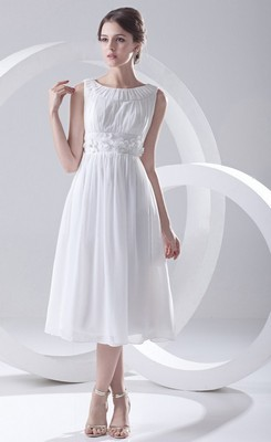 simple wedding dresses fancy a-line bateau chiffon tea-length simple wedding dress QDVPBMZ
