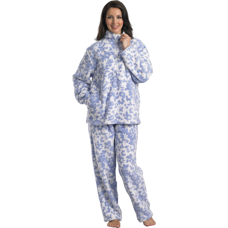slenderella womens pyjamas ladies soft polar fleece girls warm floral  loungewear CSBUPDG