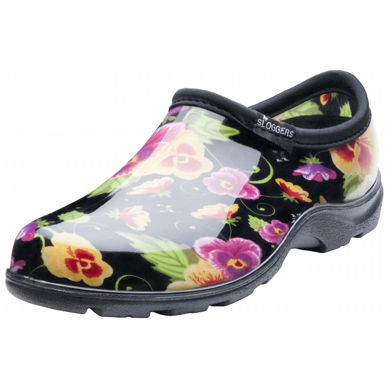 sloggers womenu0027s pansy print garden shoes black pansy NVQHTUC