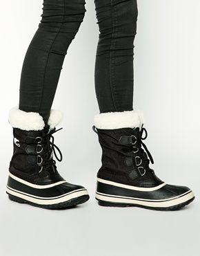 sorel boots sorel winter carnival sherpa snow cuff black boots DIYGQCG