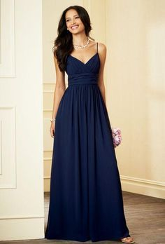 spaghetti straps navy blue bridesmaid dresses 2016 v neck ruched chiffon  bodice evening dresses BZTYNSG