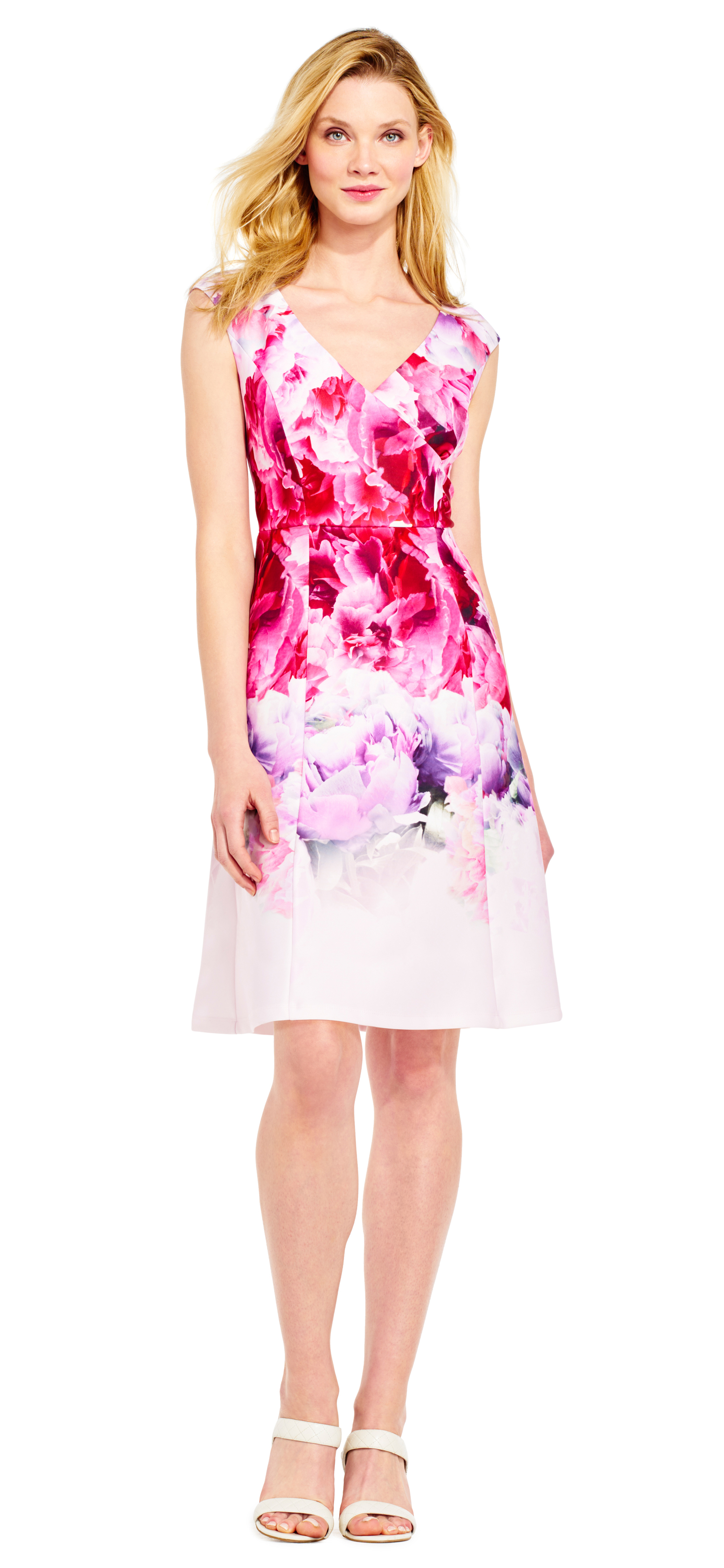 spring dresses ombre peony fit and flare dress with v-neck XTHMIUL
