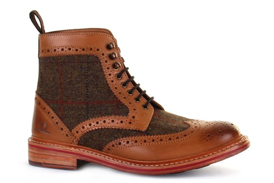 stornoway high ankle tweed brogue boots DHPFXIL