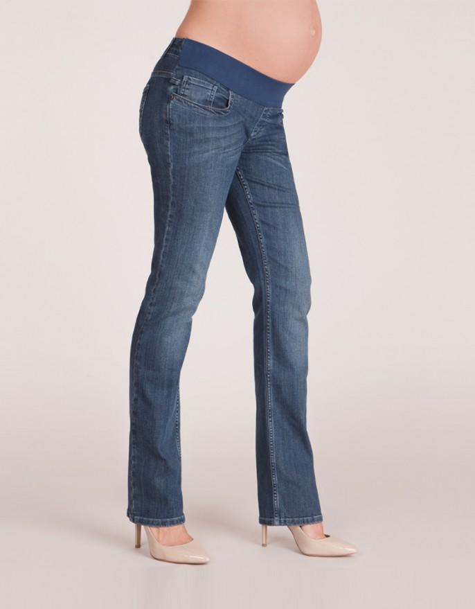 straight leg blue denim under bump maternity jeans ... ZWYHNBQ