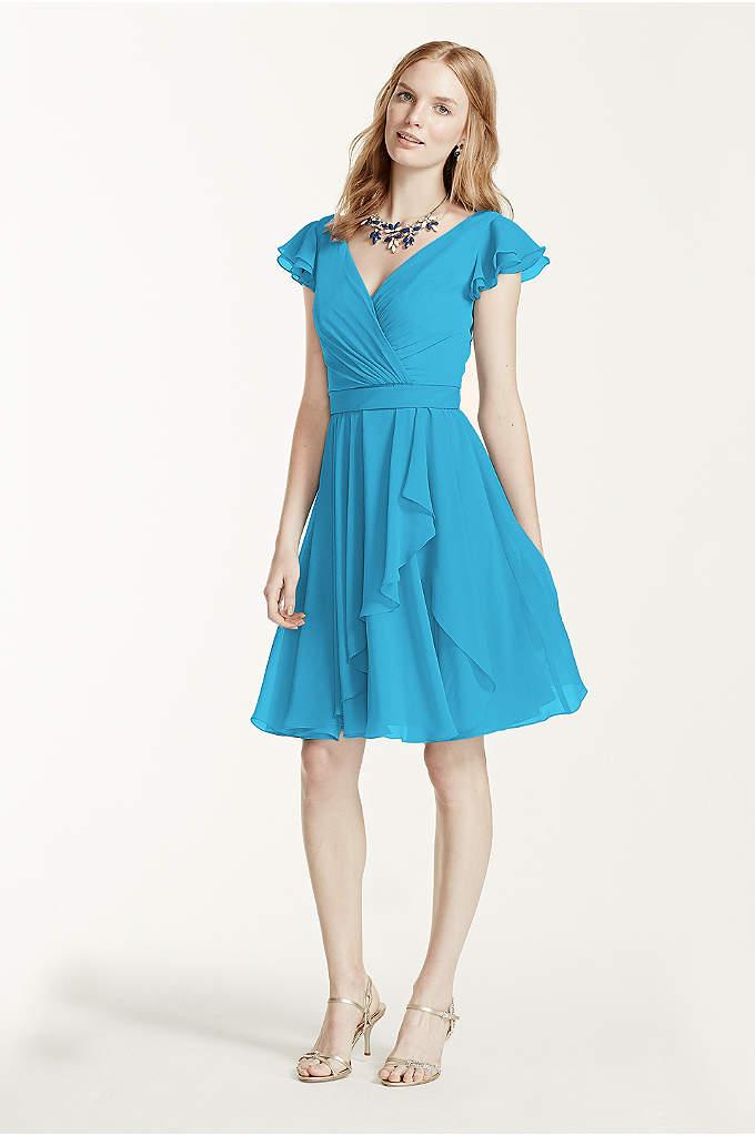 strapless crinkle chiffon dress with cascade skirt | davidu0027s bridal BMDJYSX