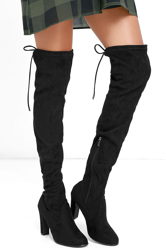 stylish black boots - over the knee boots - high heel boots - $48.00 KWDUGNJ