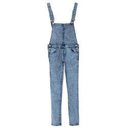 stylish bleach wash criss-cross denim overalls for women RSSIPVZ