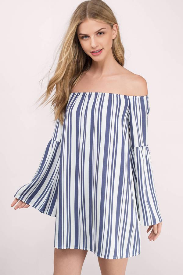 summer dress spring dresses, white multi, peace of mind striped off shoulder shift dress,  ... CQPMYRZ