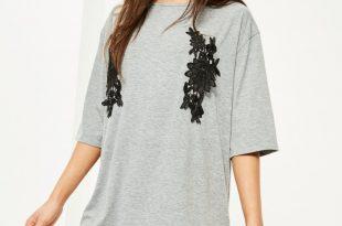 t shirt dresses grey applique detail t shirt dress RPRCCAU