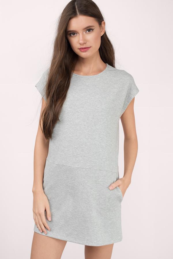 t shirt dresses, grey, at ease sweatshirt shift dress, ... KZVVMVW