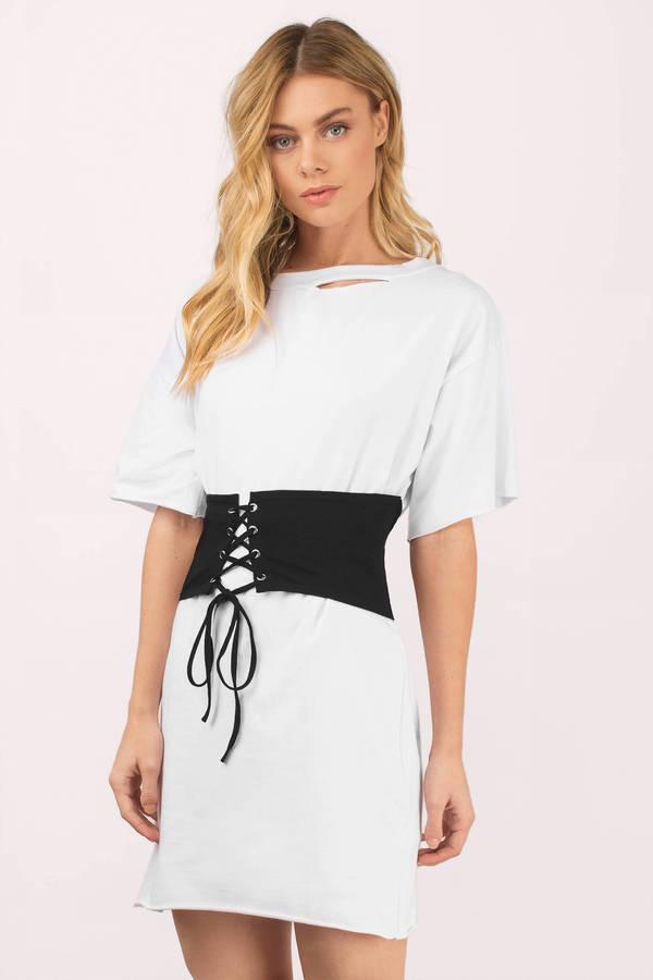 t shirt dresses ... keep me white u0026 black waistbelt t-shirt dress ... FVPDNFH