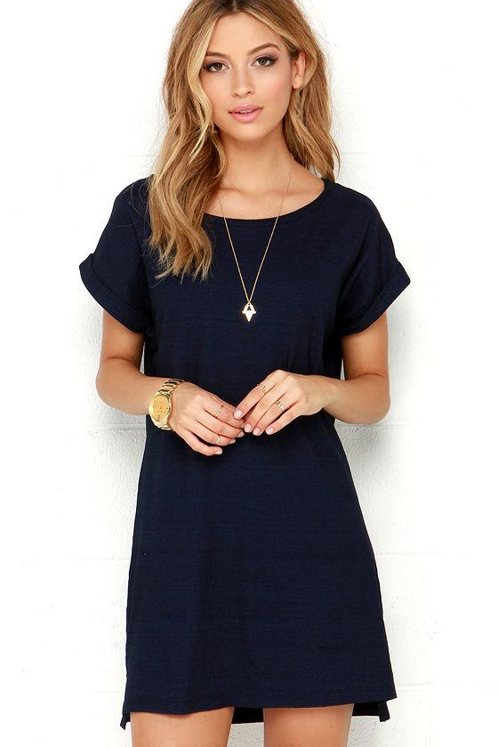 t shirt dresses obey tatum dress - navy blue dres - shirt dress - t-shirt dress - $65.00 JXWZMJQ