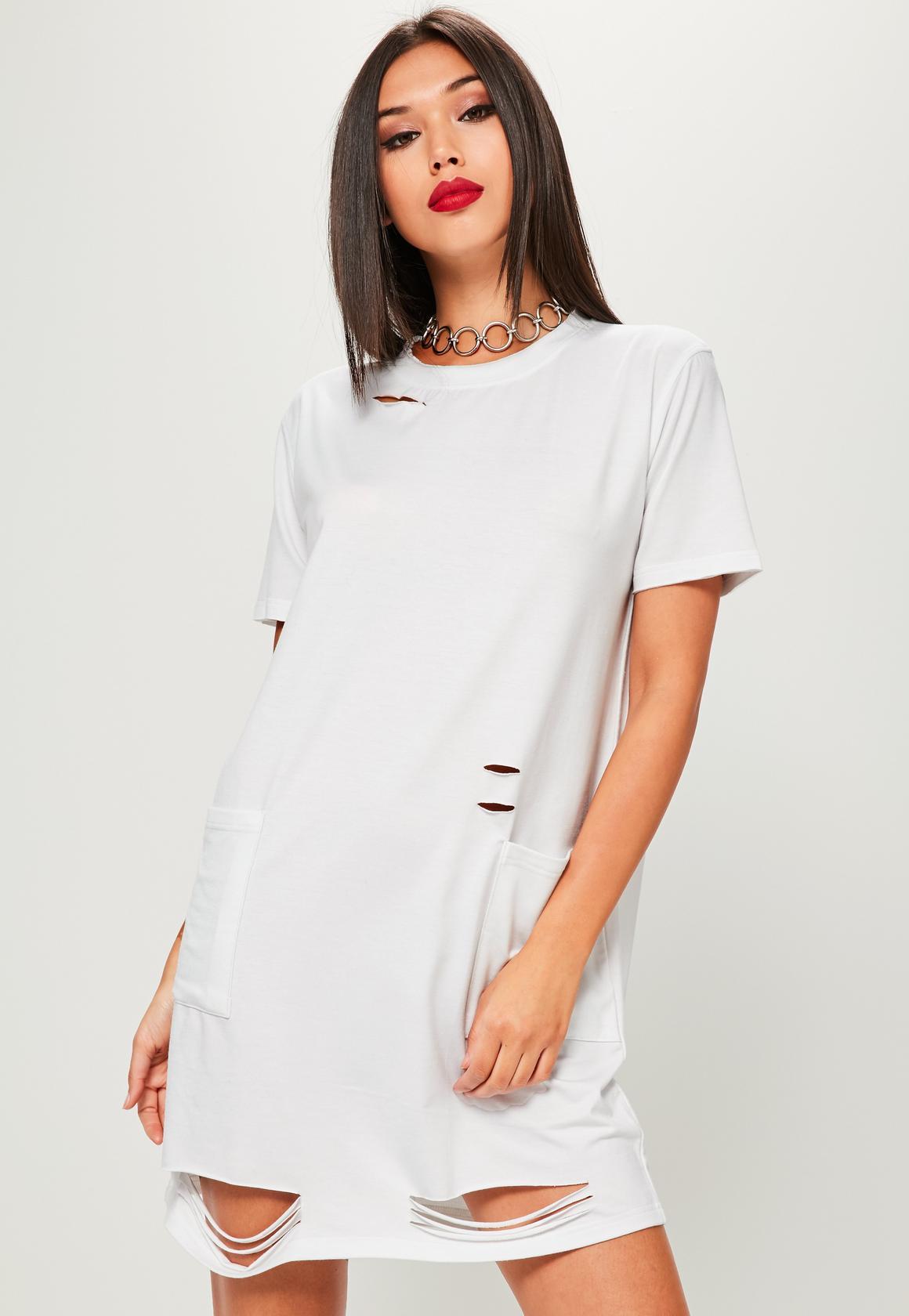 t shirt dresses white distressed pocket t-shirt dress UHIBJZP