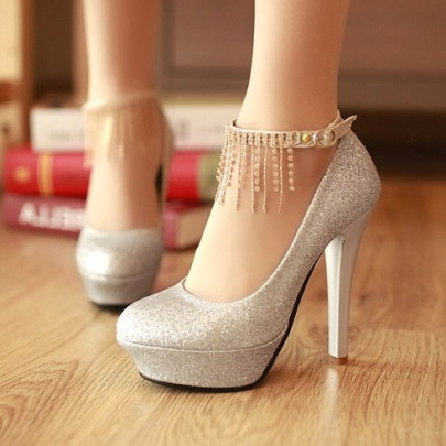 test silver sequins prom shoes with tassels ... KNHEBSS