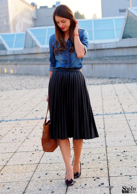 the-one: black pleated skirt via shein she looks great in a knee length ABKBDCZ