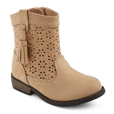 toddler boots toddler girlsu0027 genuine kids cece perforated shaft fashion boots - tan MMKMFXD