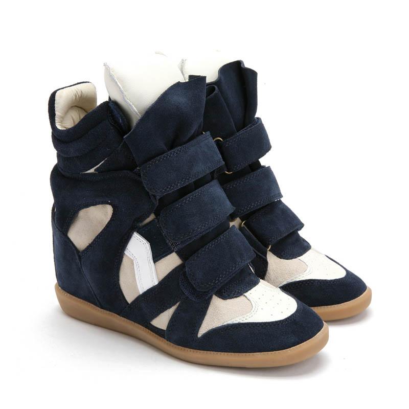upere wedge sneakers suede navy beige - $190.68 IEOAUKB